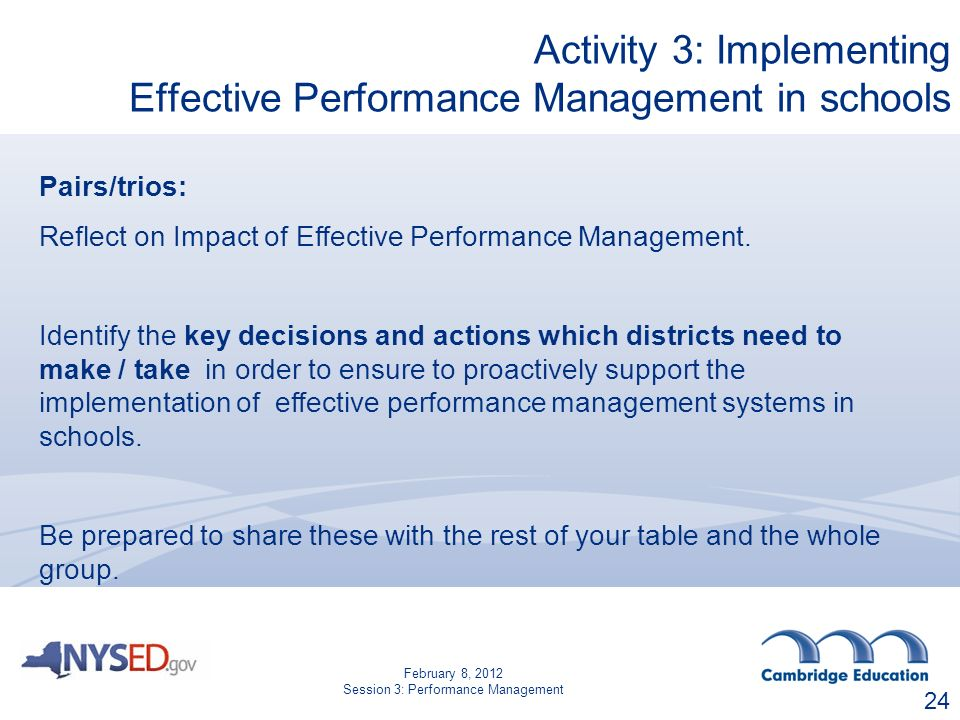 24 Pairs/trios: Reflect on Impact of Effective Performance Management.