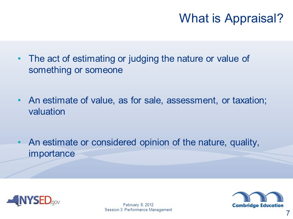 What is Appraisal.