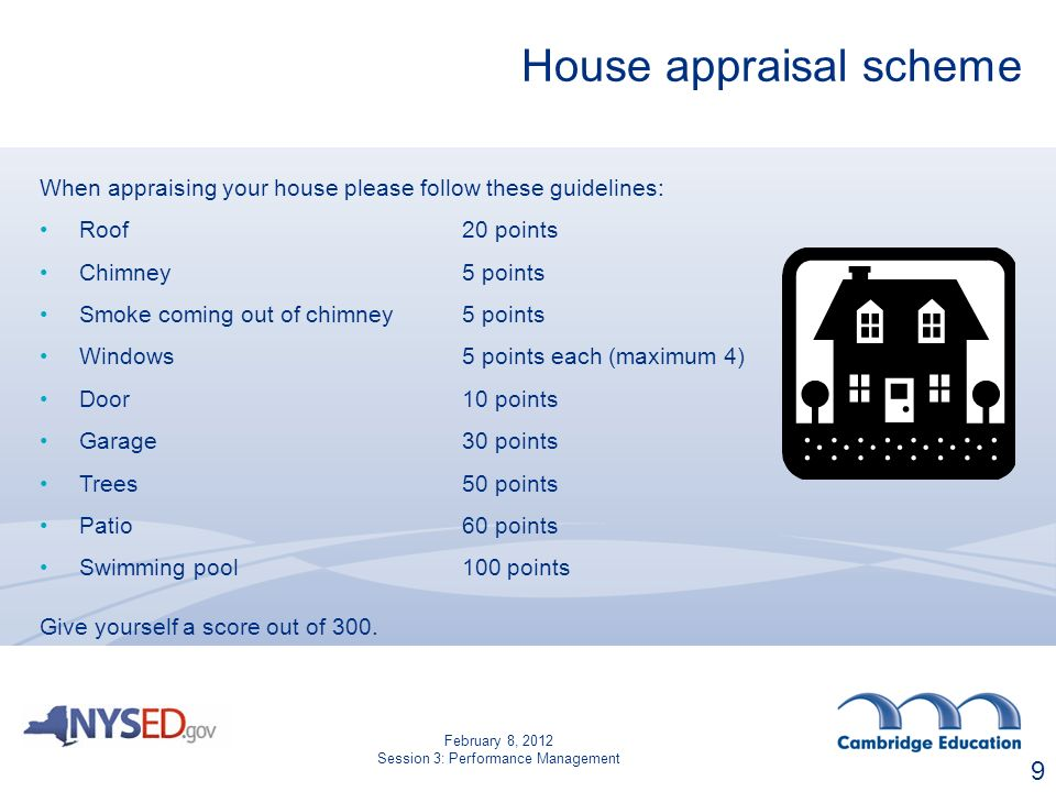 House appraisal scheme When appraising your house please follow these guidelines: Roof20 points Chimney5 points Smoke coming out of chimney5 points Windows 5 points each (maximum 4) Door10 points Garage30 points Trees 50 points Patio60 points Swimming pool100 points Give yourself a score out of 300.