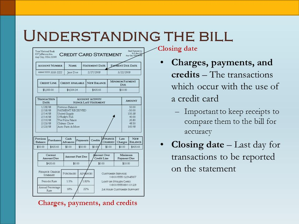 Charges, payments, and credits Understanding the bill Charges, payments, and credits – The transactions which occur with the use of a credit card –Important to keep receipts to compare them to the bill for accuracy Closing date – Last day for transactions to be reported on the statement Closing date