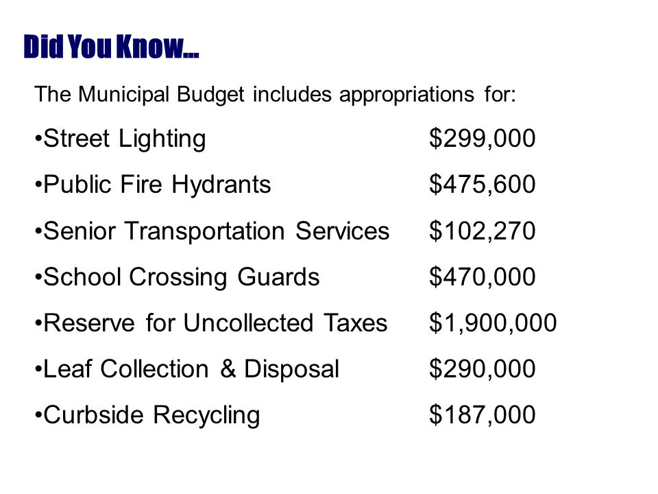 Did You Know… The Municipal Budget includes appropriations for: Street Lighting$299,000 Public Fire Hydrants$475,600 Senior Transportation Services$102,270 School Crossing Guards$470,000 Reserve for Uncollected Taxes$1,900,000 Leaf Collection & Disposal$290,000 Curbside Recycling$187,000