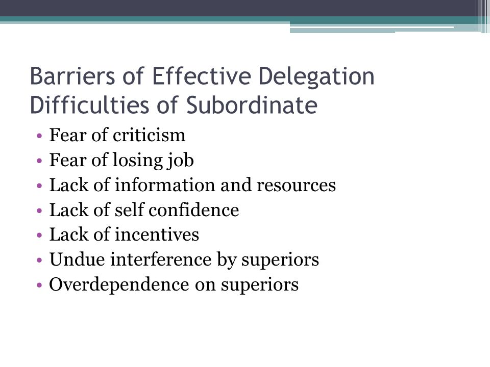 Barriers of Effective Delegation Difficulties of Subordinate Fear of criticism Fear of losing job Lack of information and resources Lack of self confi