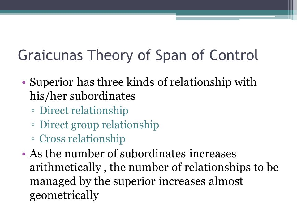 Graicunas Theory of Span of Control Superior has three kinds of relationship with his/her subordinates ▫Direct relationship ▫Direct group relationship