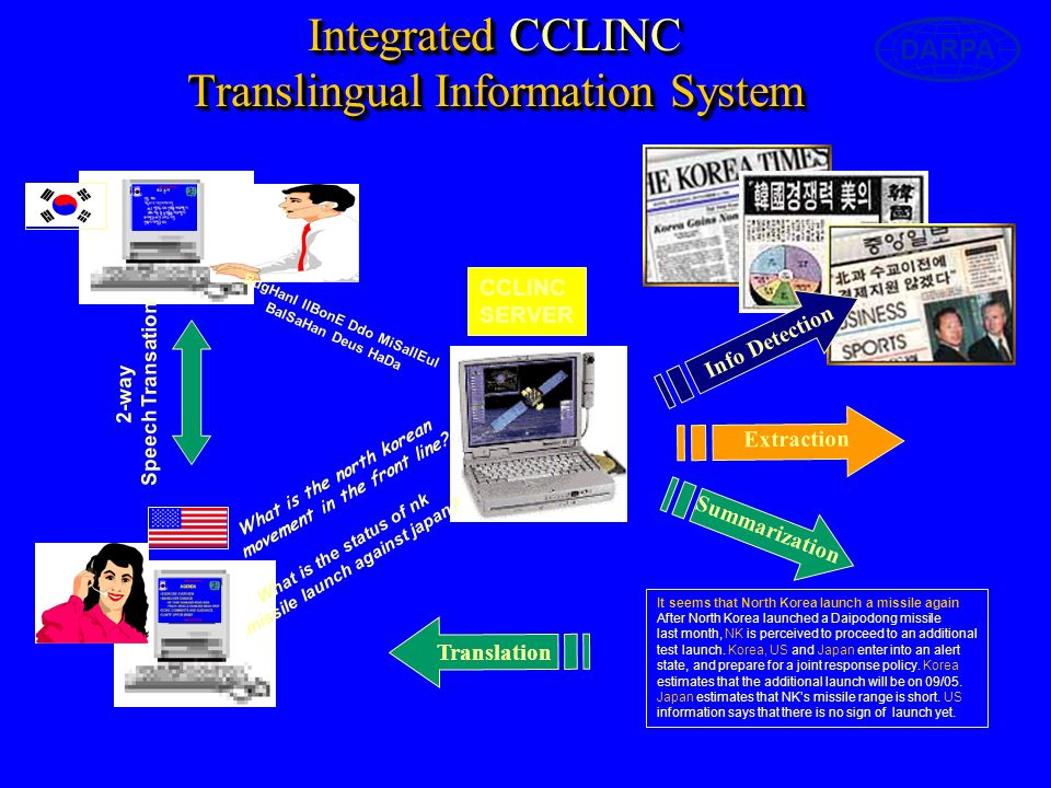 Integrated CCLINC Translingual Information System DARPA Extraction What is the north korean movement in the front line.
