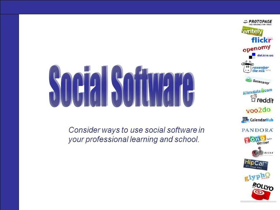 Consider ways to use social software in your professional learning and school.