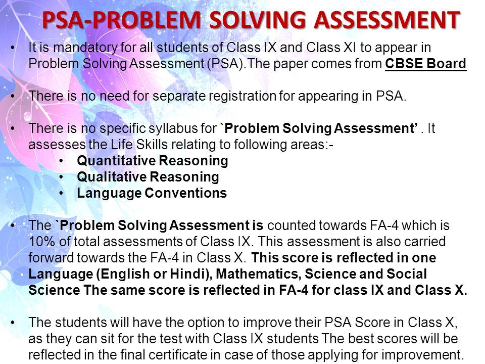 Problem solving assessments