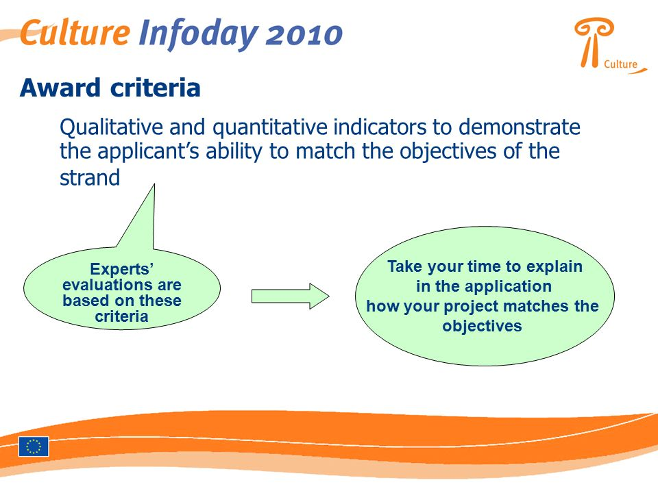 Award criteria Qualitative and quantitative indicators to demonstrate the applicant's ability to match the objectives of the strand Experts' evaluations are based on these criteria Take your time to explain in the application how your project matches the objectives