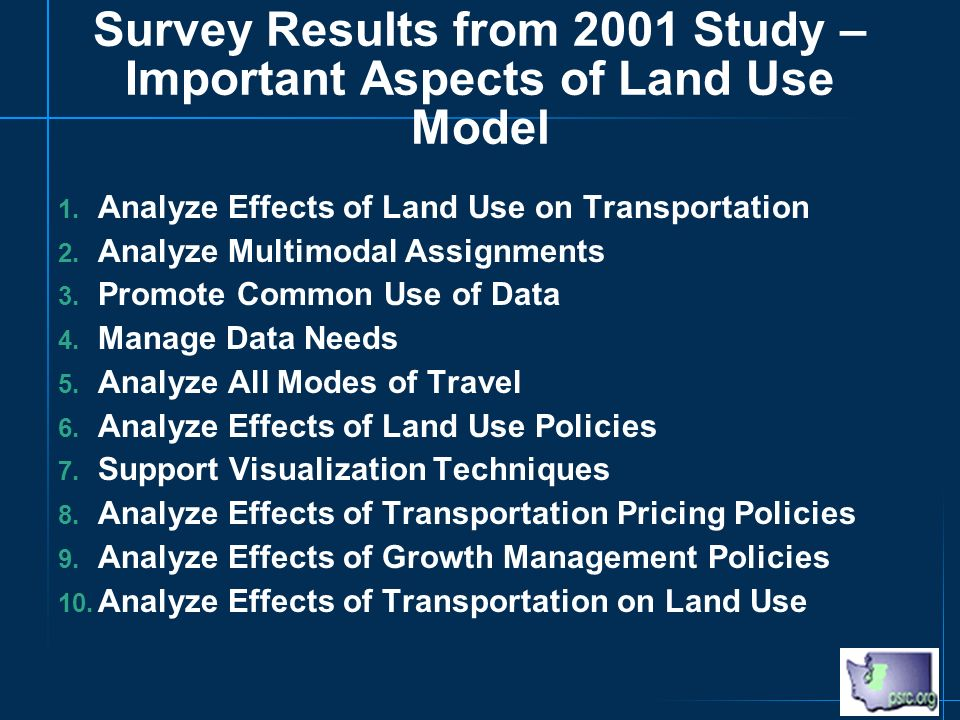 Survey Results from 2001 Study – Important Aspects of Land Use Model 1.