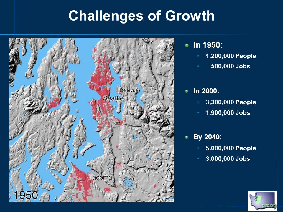 Challenges of Growth In 1950: 1,200,000 People 500,000 Jobs In 2000: 3,300,000 People 1,900,000 Jobs By 2040: 5,000,000 People 3,000,000 Jobs