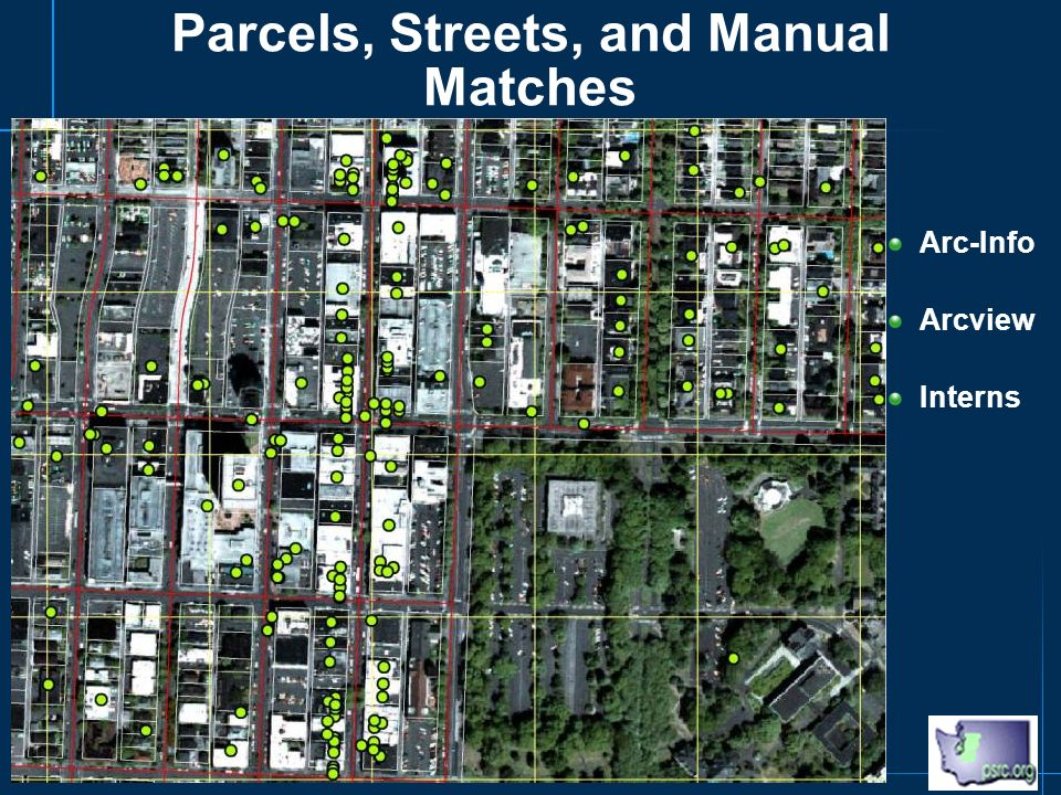Parcels, Streets, and Manual Matches Arc-Info Arcview Interns