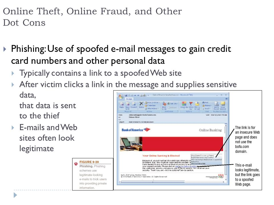 13 Online Theft, Online Fraud, and Other Dot Cons  Phishing: Use of spoofed  messages to gain credit card numbers and other personal data  Typically contains a link to a spoofed Web site  After victim clicks a link in the message and supplies sensitive data, that data is sent to the thief   s and Web sites often look legitimate