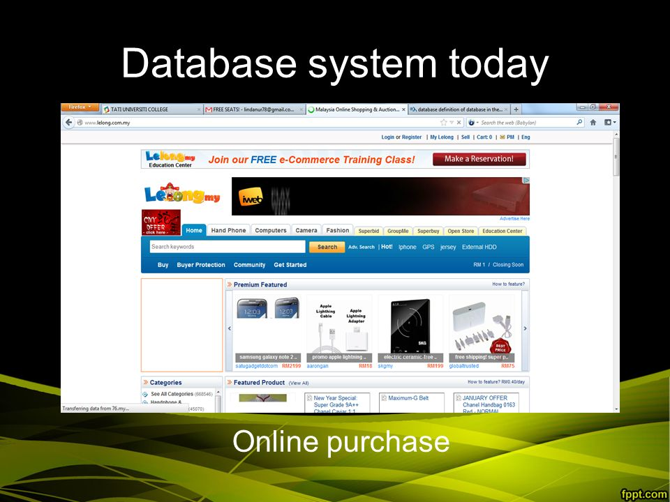 Database system today Online purchase