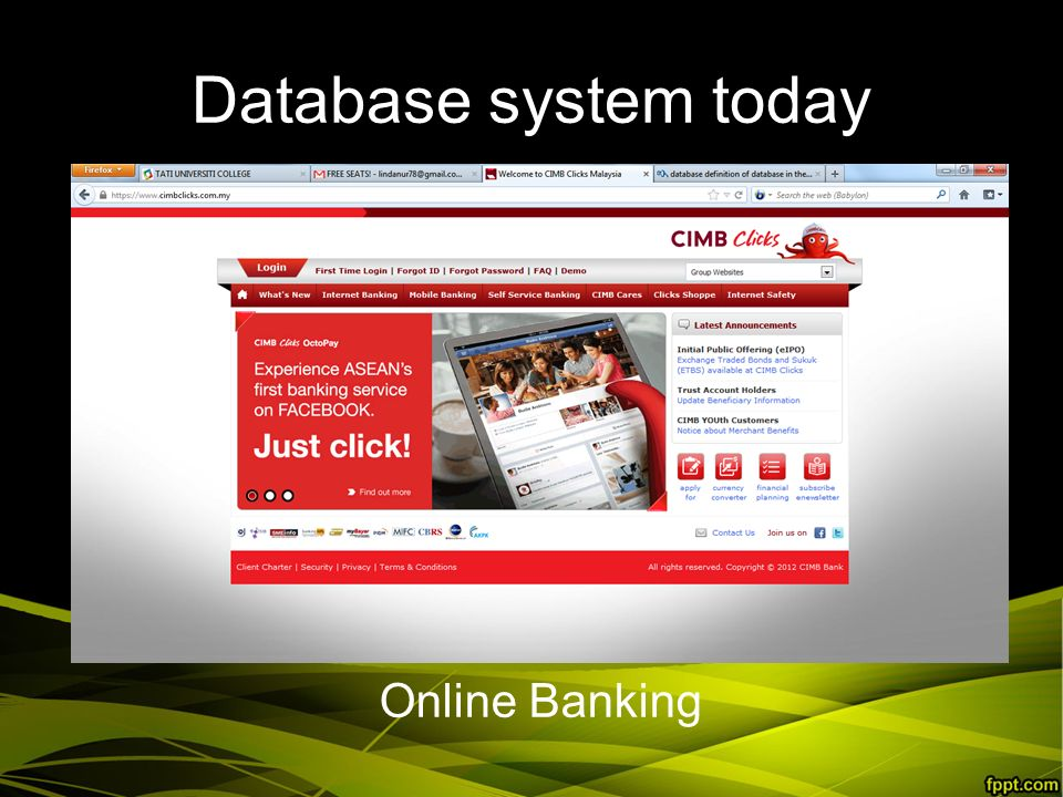 Database system today Online Banking