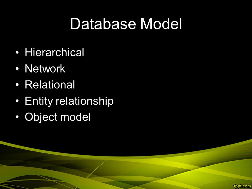 Database Model Hierarchical Network Relational Entity relationship Object model