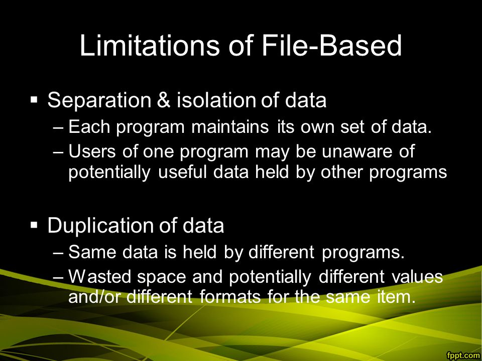 Limitations of File-Based  Separation & isolation of data –Each program maintains its own set of data.