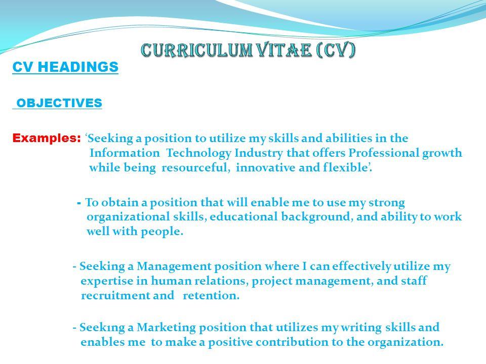 Cv Headings Examples