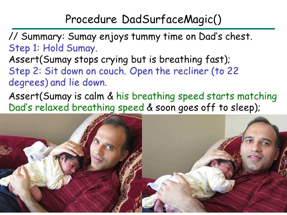 // Summary: Sumay enjoys tummy time on Dad's chest.