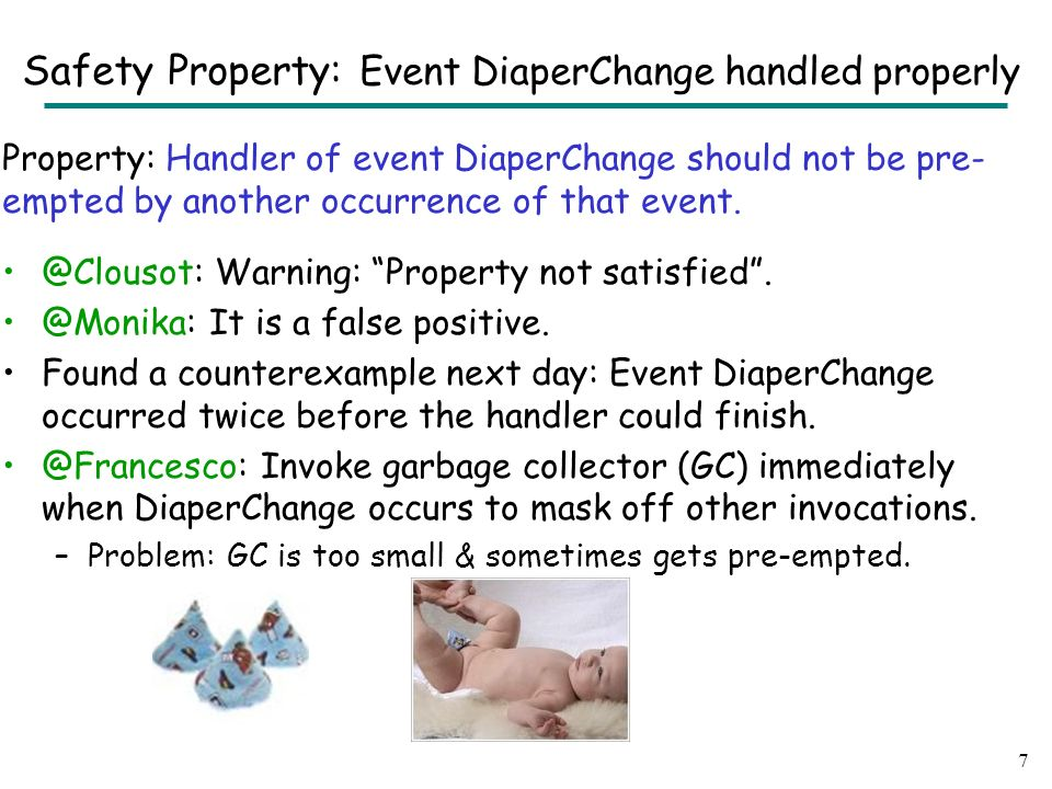 Property: Handler of event DiaperChange should not be pre- empted by another occurrence of that event.
