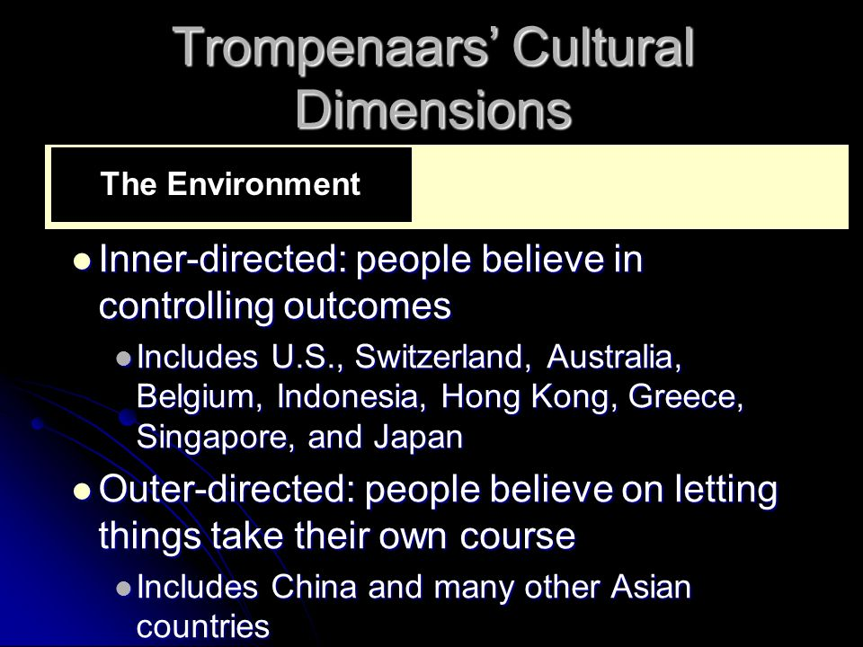 Trompenaars' Cultural Dimensions Inner-directed: people believe in controlling outcomes Inner-directed: people believe in controlling outcomes Include