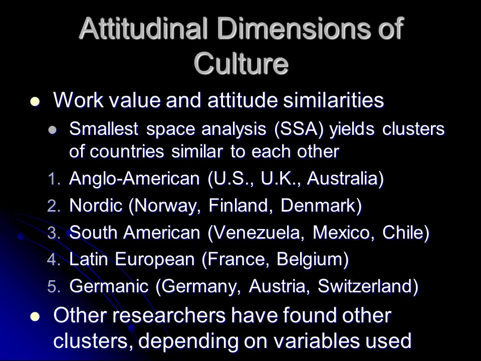 Attitudinal Dimensions of Culture Work value and attitude similarities Work value and attitude similarities Smallest space analysis (SSA) yields clust