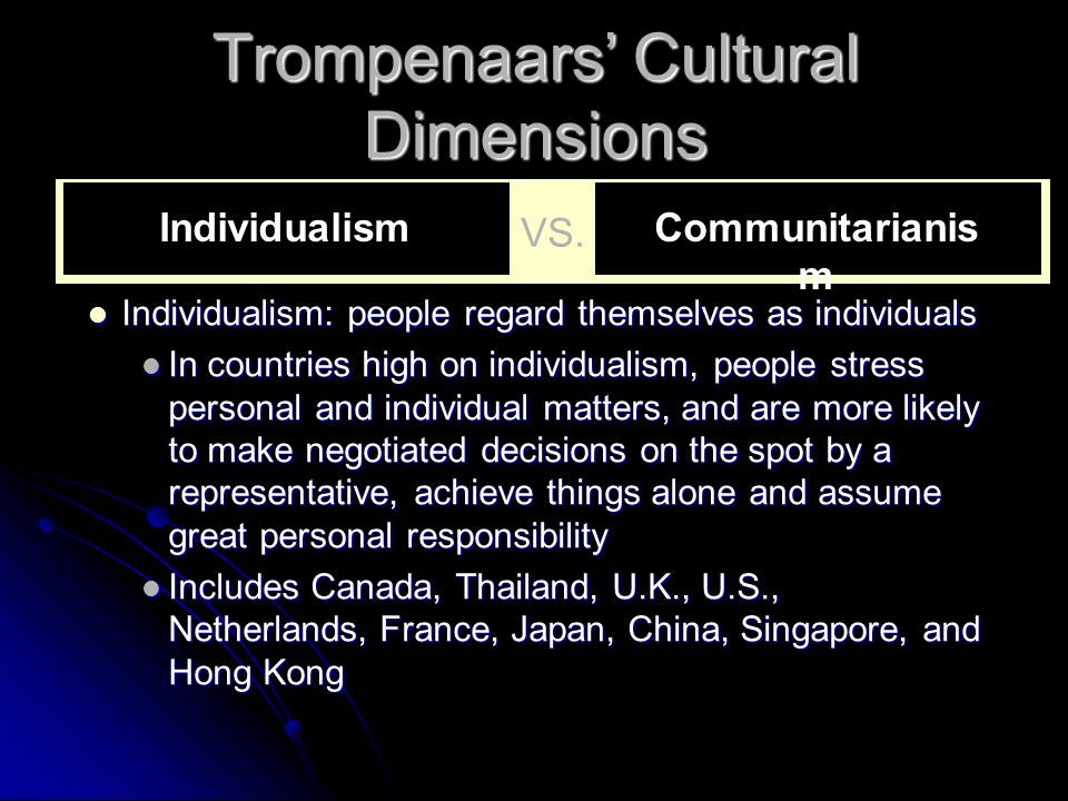Trompenaars' Cultural Dimensions Individualism: people regard themselves as individuals Individualism: people regard themselves as individuals In coun