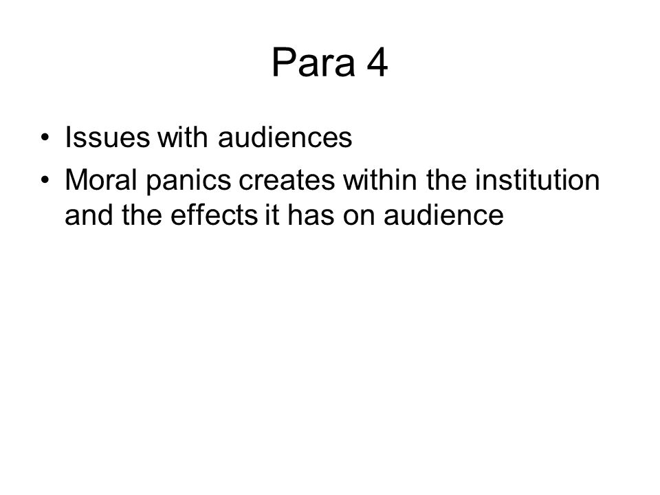 discuss and describe a moral panic Free essay: society is frequently subjected to moral panics when any crime is committed humanity repeatedly blows crimes and incidents out of proportion.