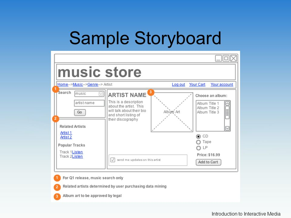Introduction to Interactive Media Sample Storyboard