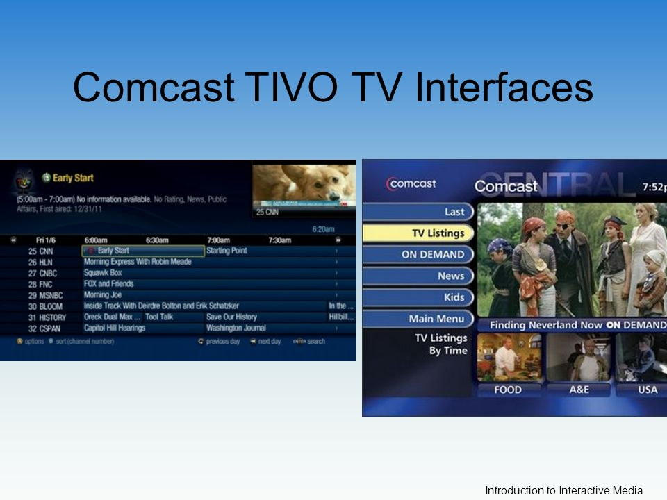 Introduction to Interactive Media Comcast TIVO TV Interfaces