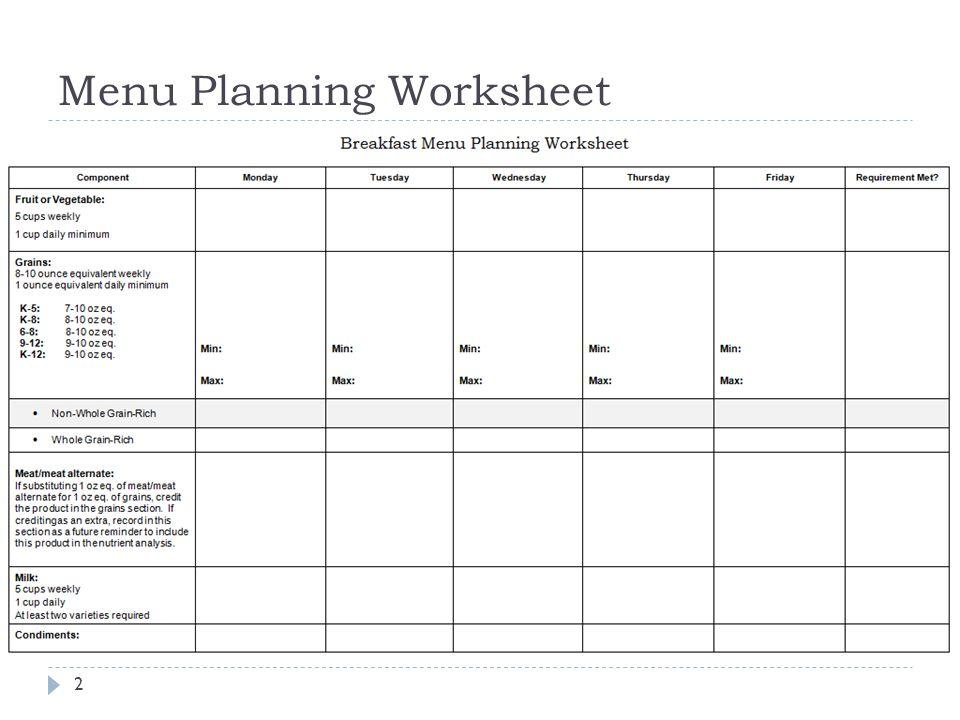 Menu Planning Tools 1. Menu Planning Worksheet ppt download