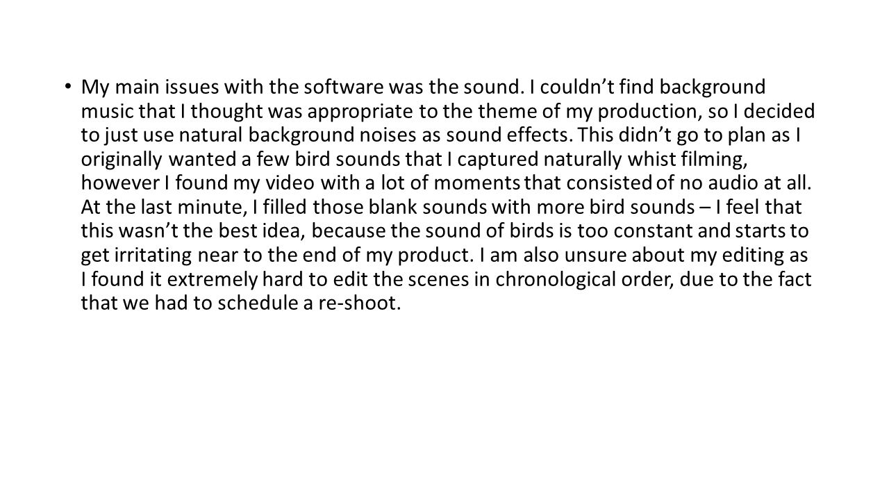 My main issues with the software was the sound.
