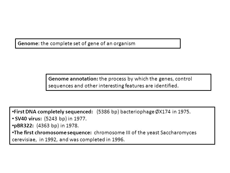 Genome: the complete set of gene of an organism Genome annotation: the process by which the genes, control sequences and other interesting features are identified.