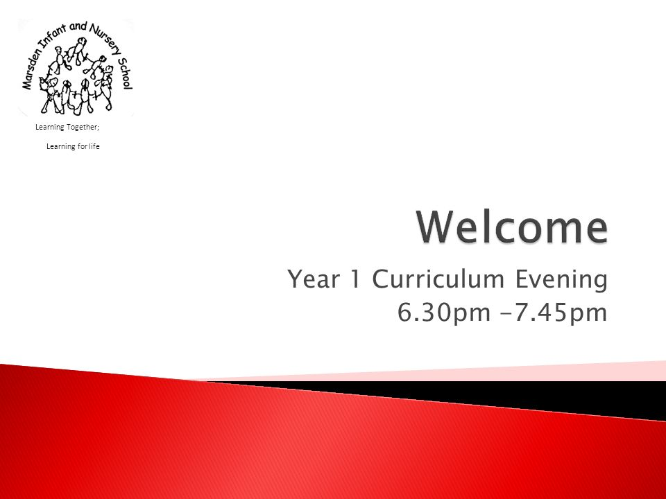 Year 1 Curriculum Evening 6.30pm -7.45pm Learning Together; Learning for life