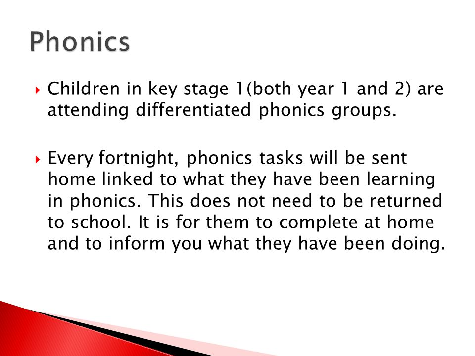  Children in key stage 1(both year 1 and 2) are attending differentiated phonics groups.