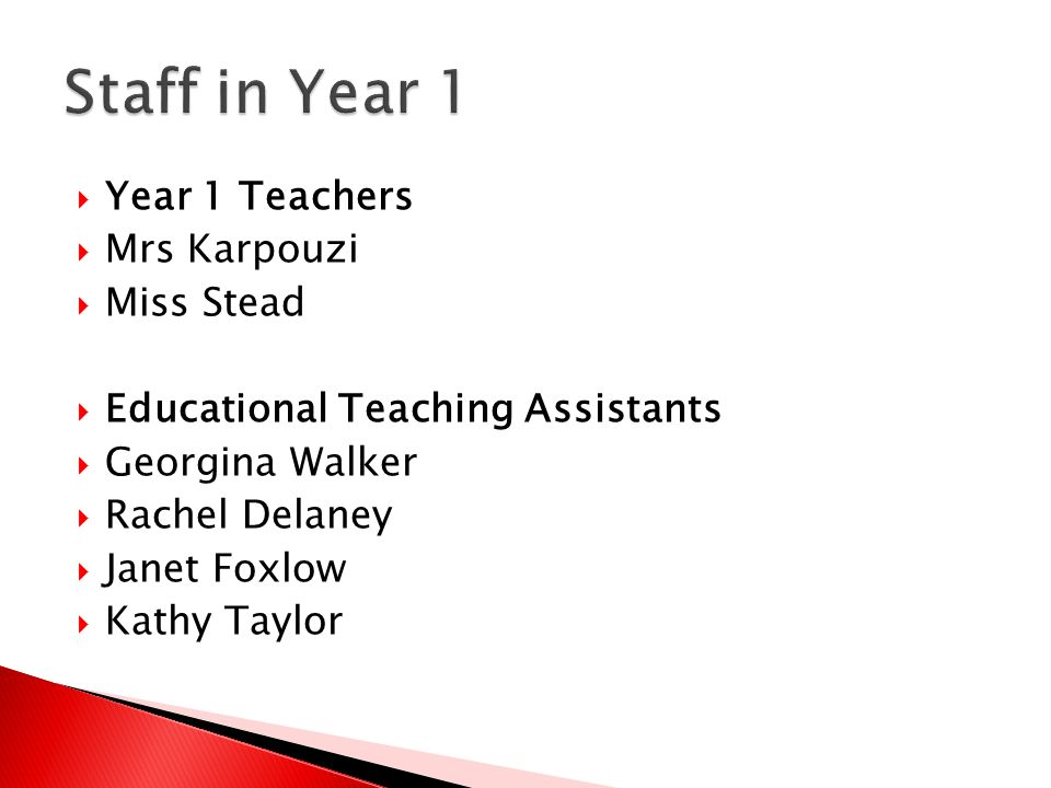  Year 1 Teachers  Mrs Karpouzi  Miss Stead  Educational Teaching Assistants  Georgina Walker  Rachel Delaney  Janet Foxlow  Kathy Taylor