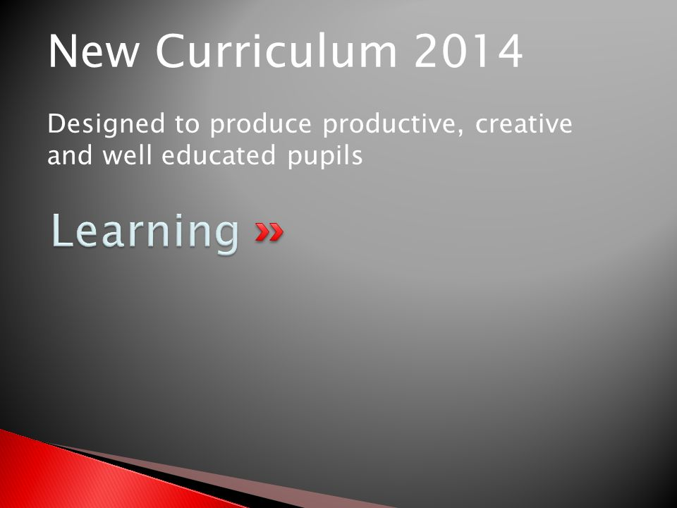 New Curriculum 2014 Designed to produce productive, creative and well educated pupils