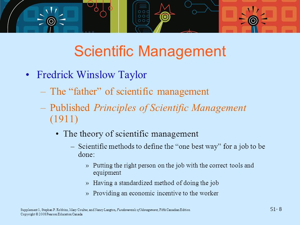 Supplement 1, Stephen P. Robbins, Mary Coulter, and Nancy Langton, Fundamentals of Management, Fifth Canadian Edition S1- 8 Copyright © 2008 Pearson E