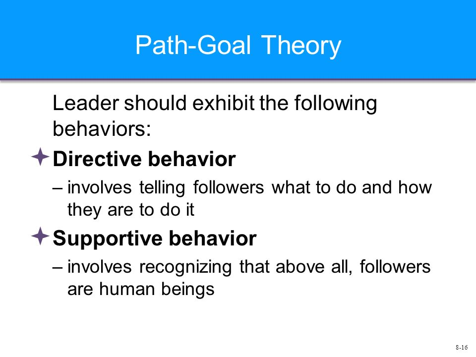 8-16 Path-Goal Theory Leader should exhibit the following behaviors:  Directive behavior –involves telling followers what to do and how they are to do it  Supportive behavior –involves recognizing that above all, followers are human beings