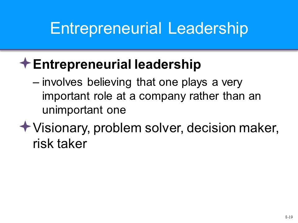 8-19 Entrepreneurial Leadership  Entrepreneurial leadership –involves believing that one plays a very important role at a company rather than an unimportant one  Visionary, problem solver, decision maker, risk taker