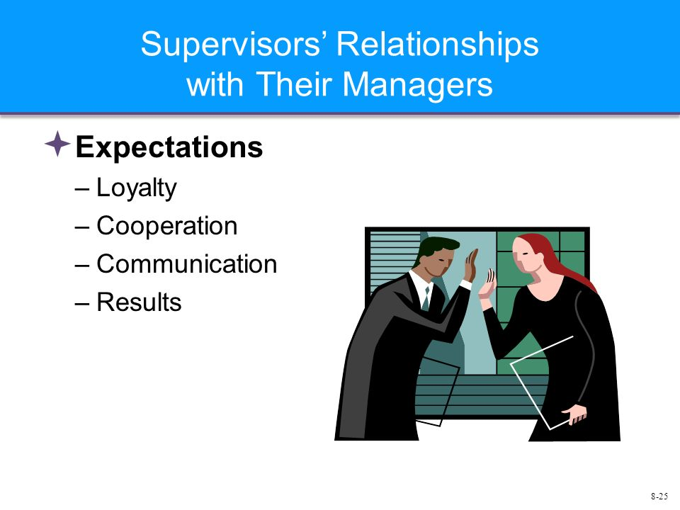 8-25 Supervisors' Relationships with Their Managers  Expectations –Loyalty –Cooperation –Communication –Results