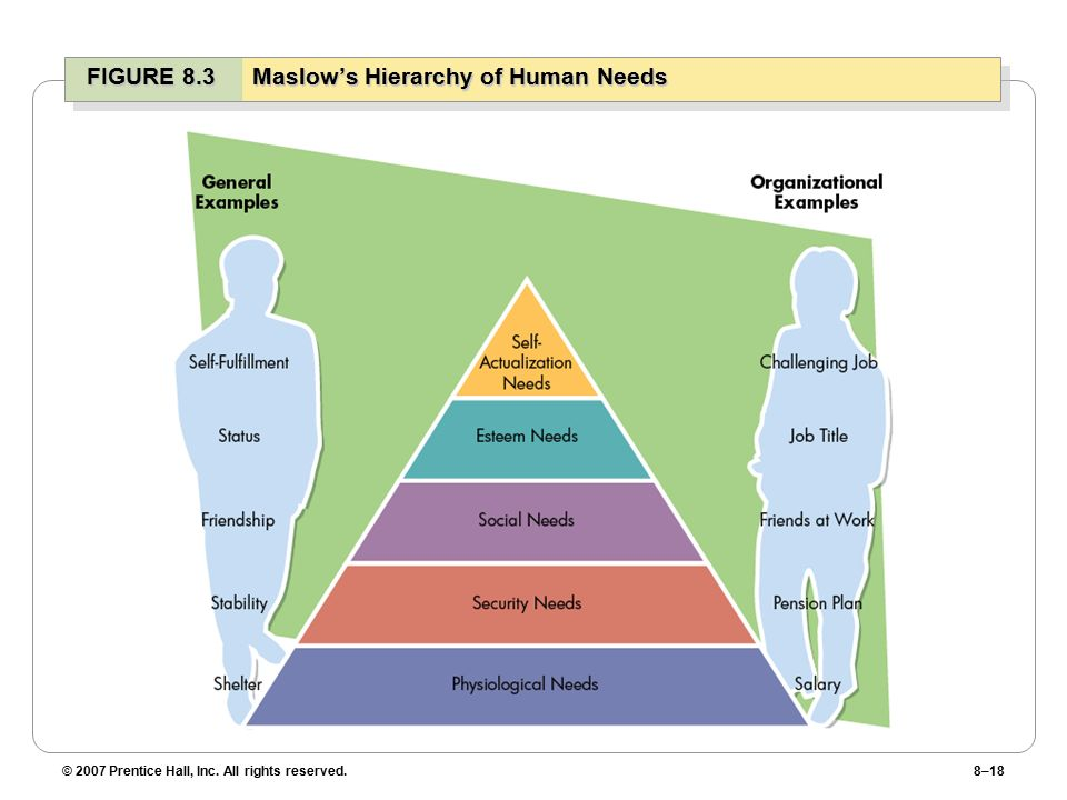 © 2007 Prentice Hall, Inc. All rights reserved.8–18 FIGURE 8.3Maslow's Hierarchy of Human Needs