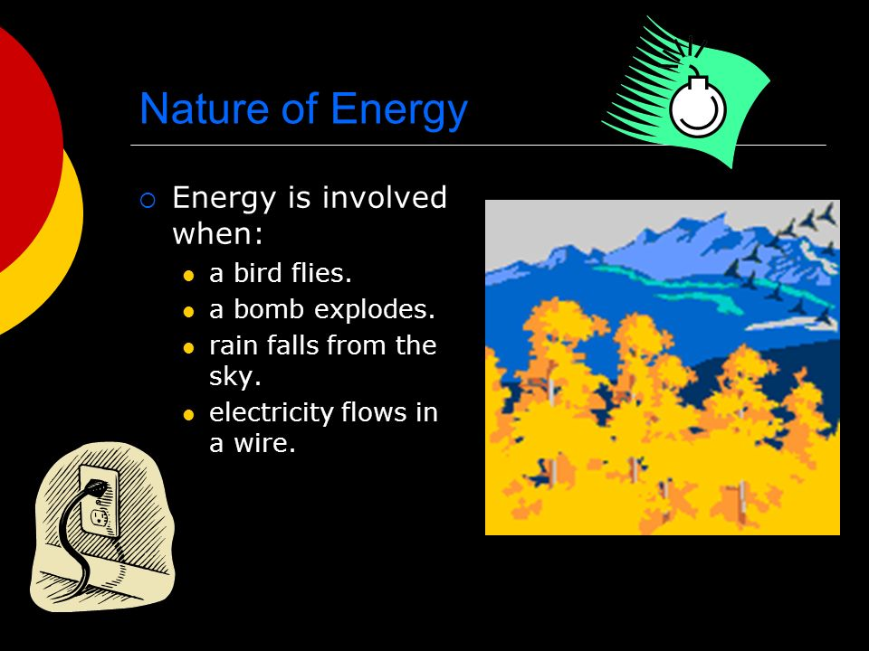 Nature of Energy  Energy is involved when: a bird flies.