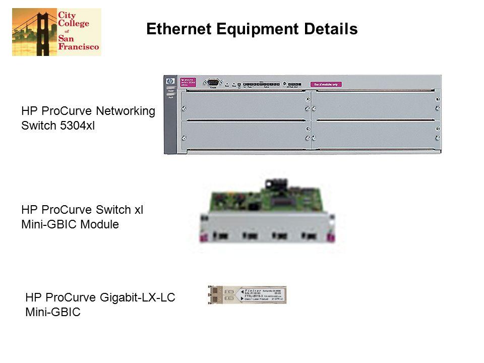 Ethernet Equipment Details HP ProCurve Switch xl Mini-GBIC Module HP ProCurve Gigabit-LX-LC Mini-GBIC HP ProCurve Networking Switch 5304xl
