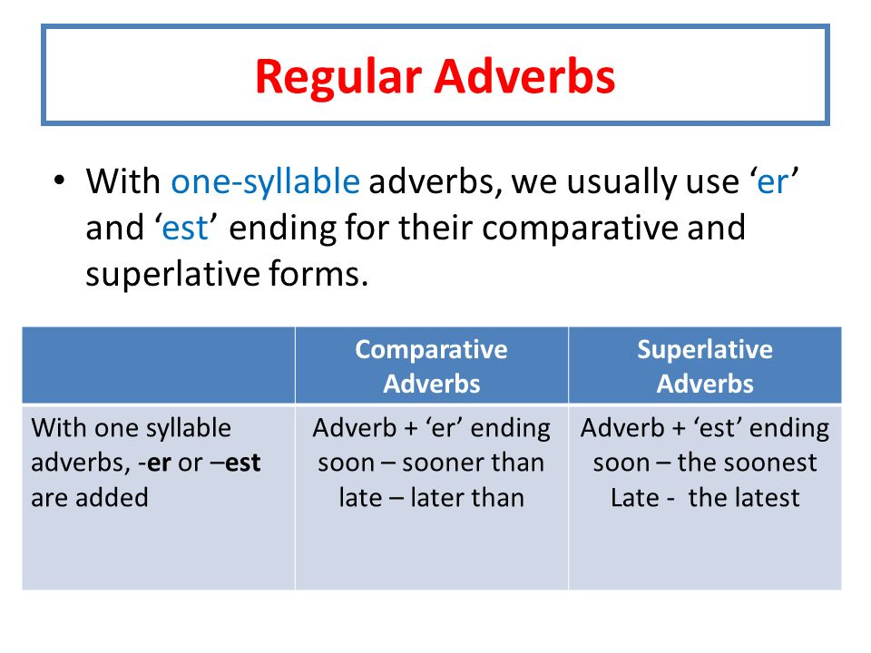 Regular Adverbs With one-syllable adverbs, we usually use 'er' and 'est' ending for their comparative and superlative forms.