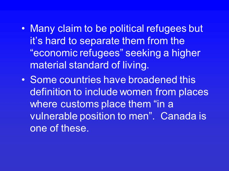 Not all migration is voluntary, eg., slavery or refugees The 1951 Geneva Convention states that a refugee is someone with a well- founded fear of being persecuted in his or her country of origin for reasons of race, religion, nationality, membership of a group or political opinion .