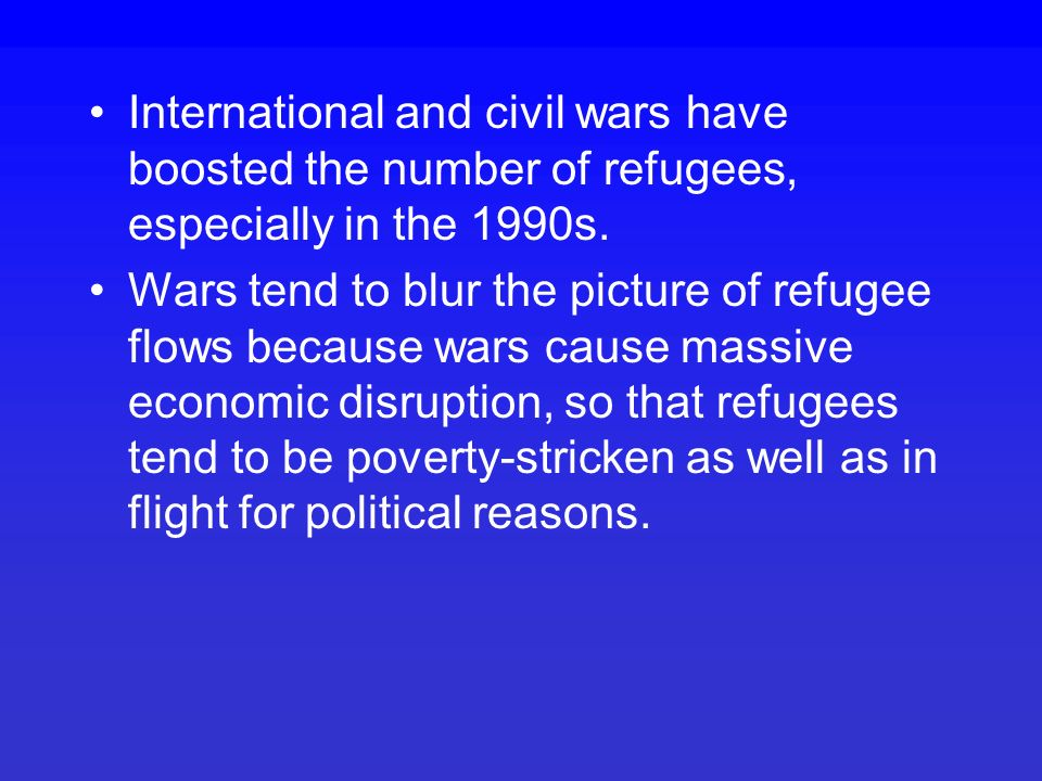 Many claim to be political refugees but it's hard to separate them from the economic refugees seeking a higher material standard of living.