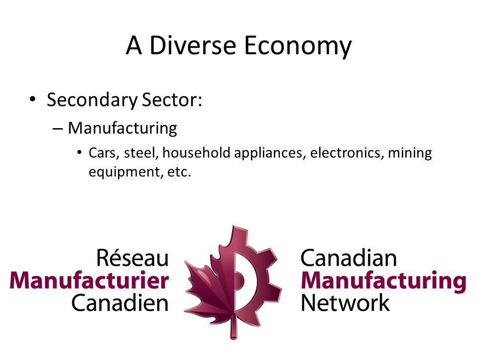 A Diverse Economy Secondary Sector: – Manufacturing Cars, steel, household appliances, electronics, mining equipment, etc.