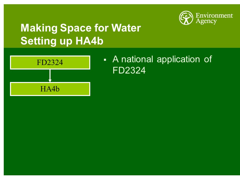Making Space for Water Setting up HA4b FD2324 HA4b  A national application of FD2324