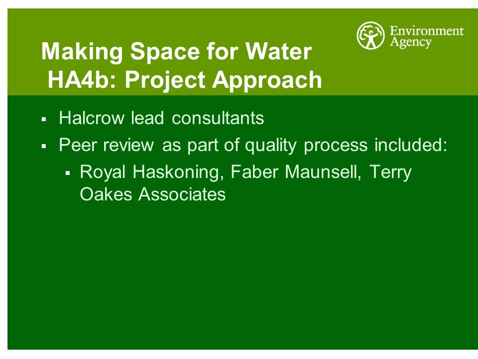 Making Space for Water HA4b: Project Approach  Halcrow lead consultants  Peer review as part of quality process included:  Royal Haskoning, Faber Maunsell, Terry Oakes Associates