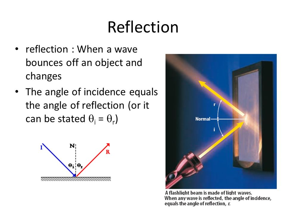 Reflection reflection : When a wave bounces off an object and changes The angle of incidence equals the angle of reflection (or it can be stated  i =  r )