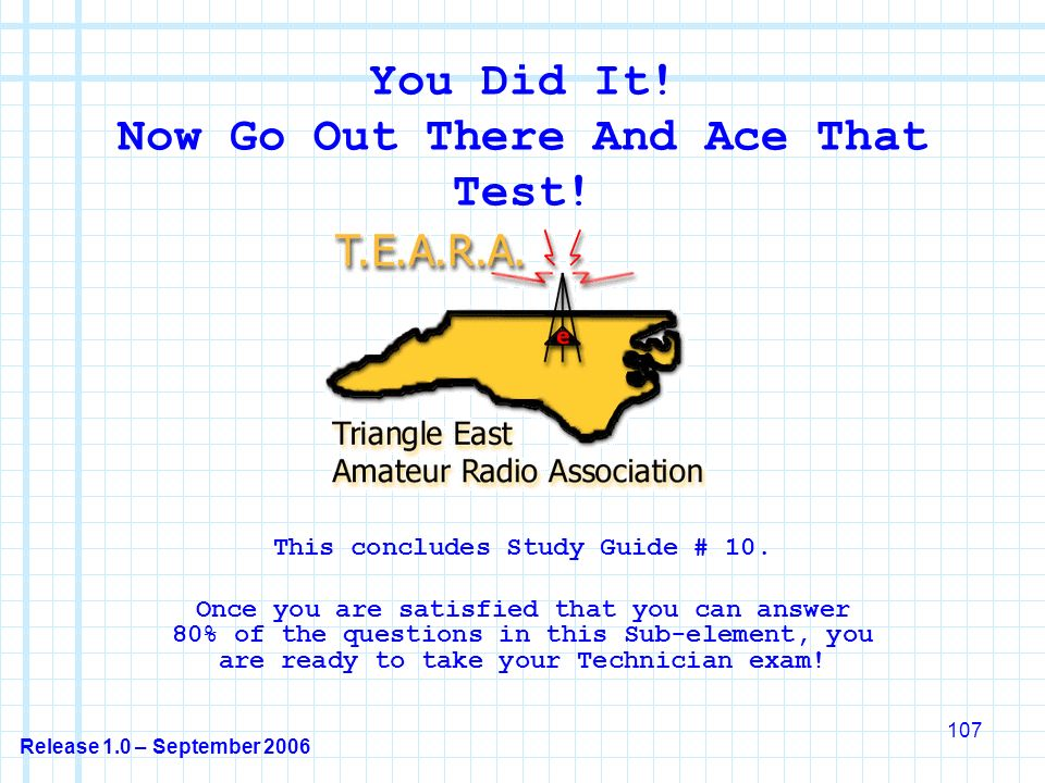 Release 1.0 – September 2006 107 You Did It. Now Go Out There And Ace That Test.